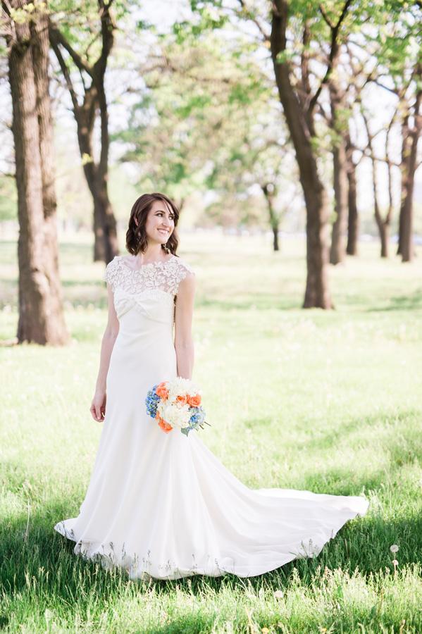 Portrait of bride at Diversey Harbor.