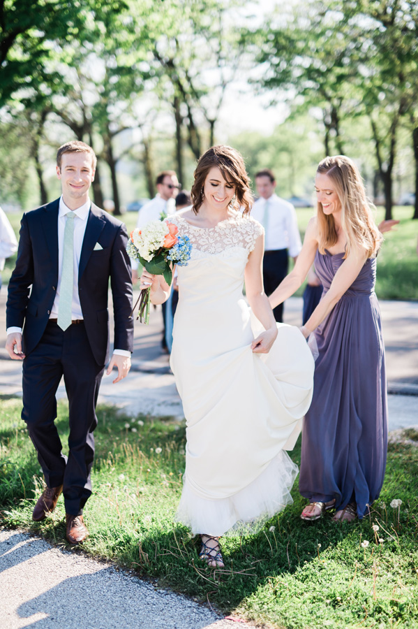 Wedding party walking around at Diversey Harbor.