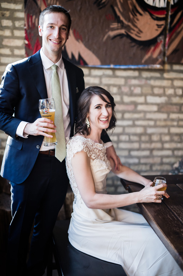 Bride and groom portraits at bar in Chicago.
