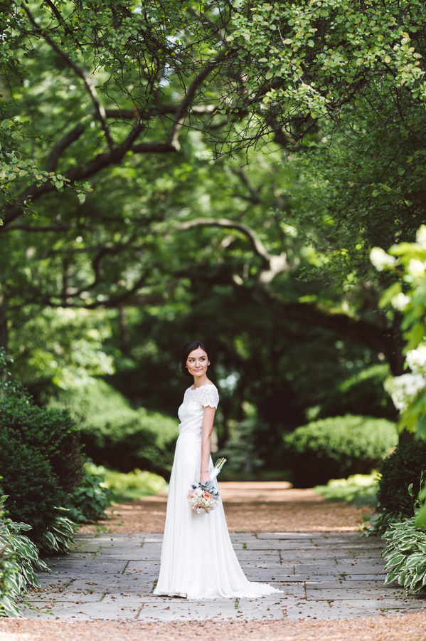 Portrait of bride at Cantigny Park.