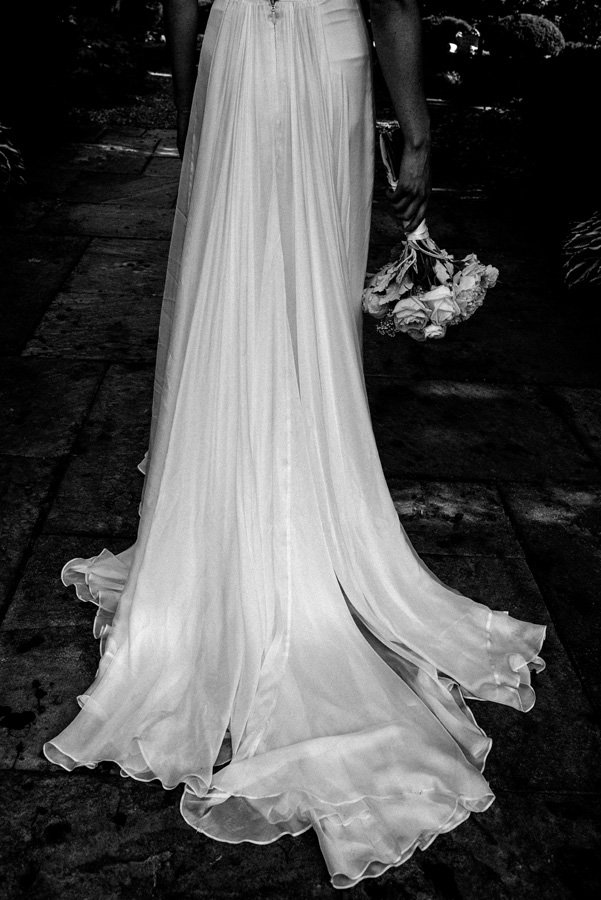 Detail of back of bride's dress.