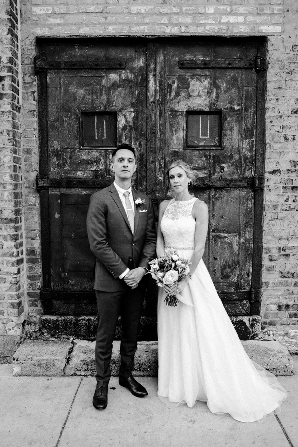 Bride and groom portrait in black and white.