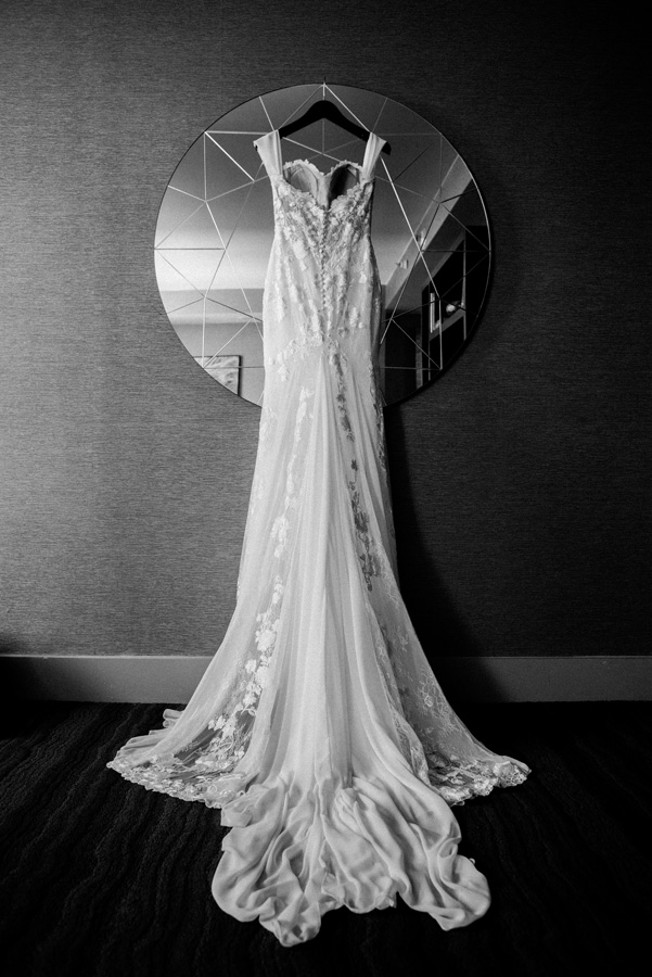Back of wedding gown.