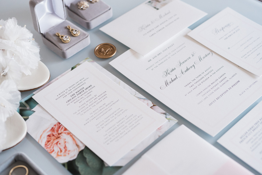 Wedding details and invitations.