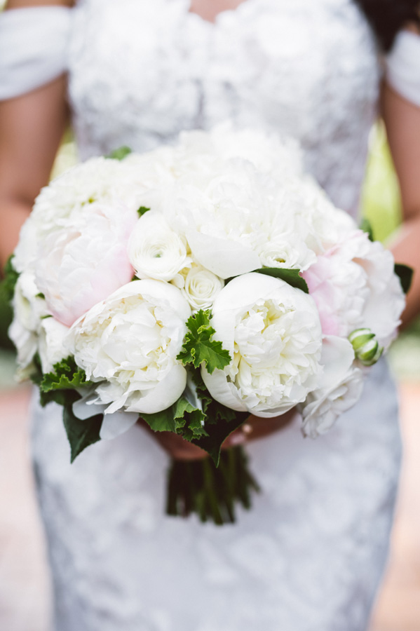 Detail shot of bride's bouquet.