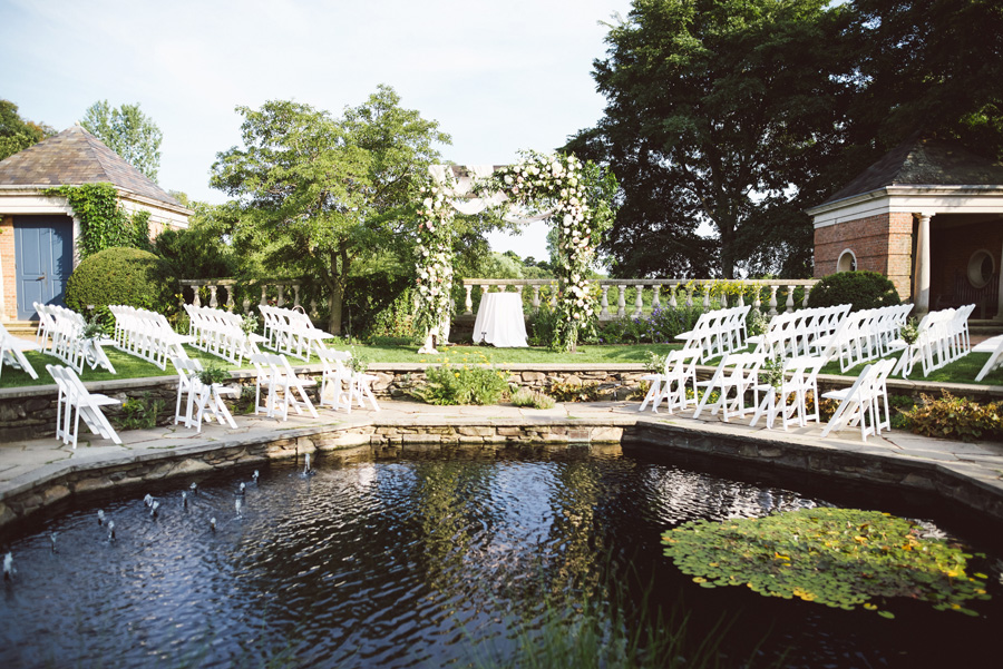 Wedding ceremony set up in the English Garden, Chicago Botanic Garden.