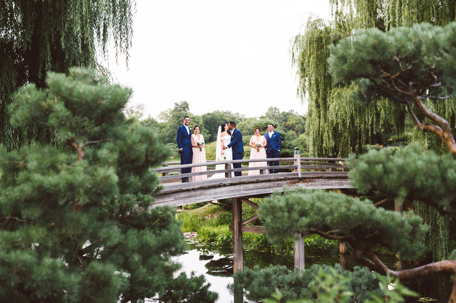 Bridal Party at Japanese Garden at Chicago Botanic Garden.