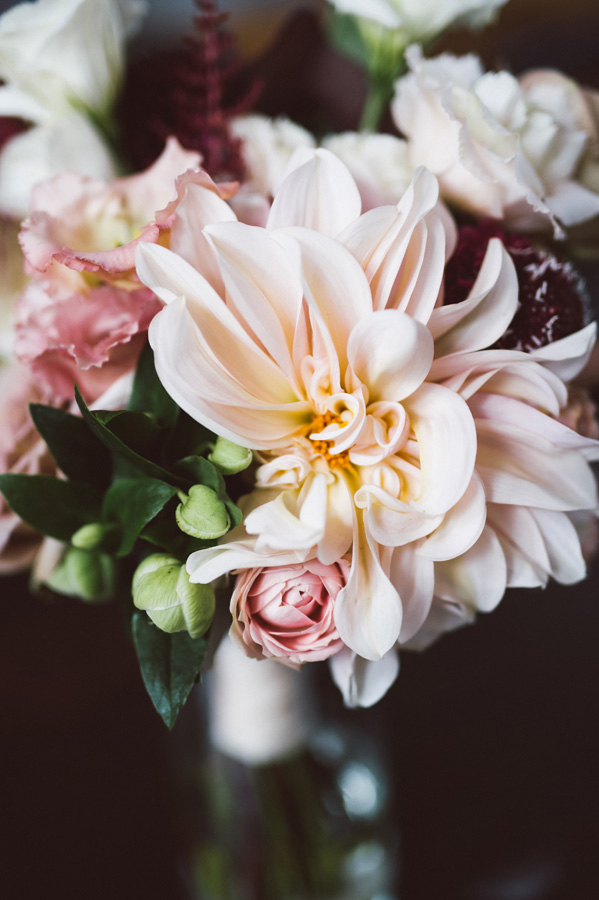 Detail of wedding bouquet.