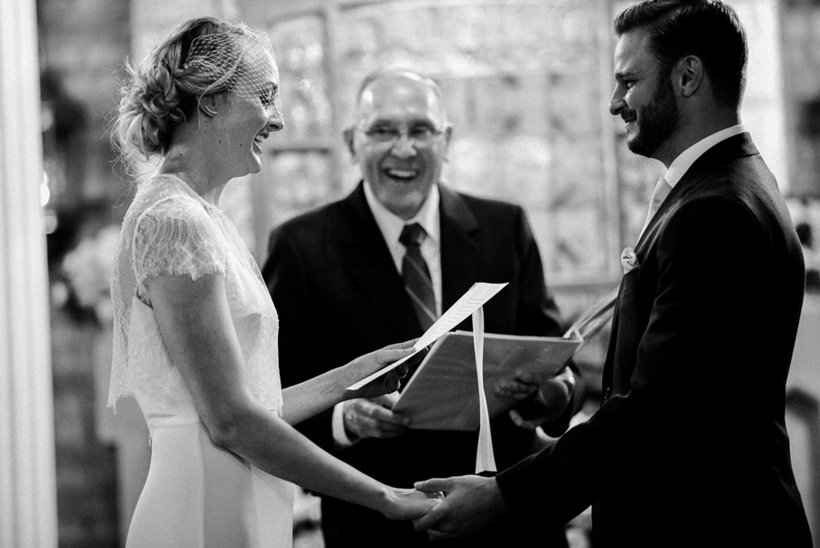 Bride and groom exchange vows.