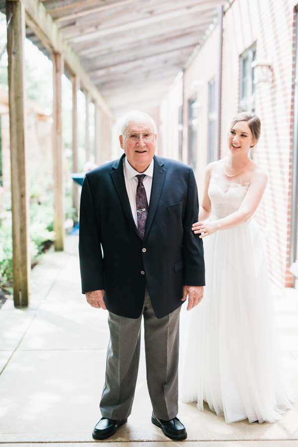 Bride's first look with grandpa.