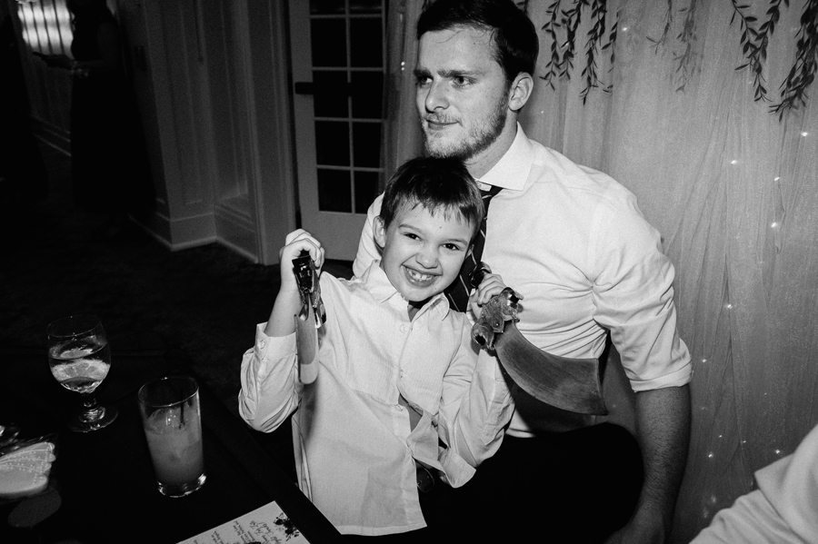 Groom and his step son at reception.