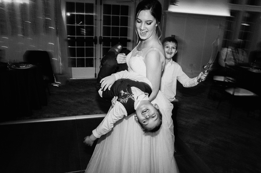 Bride and her son at reception.