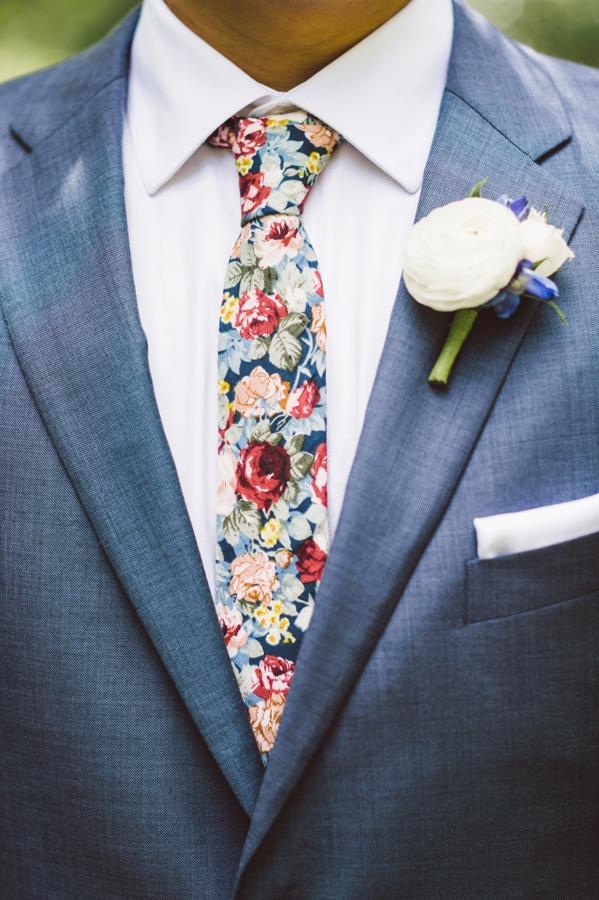 Detail of groom's tie.