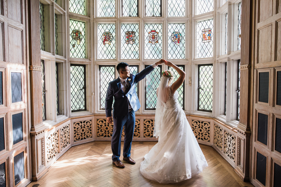 Bride and groom dance in Founders Room.