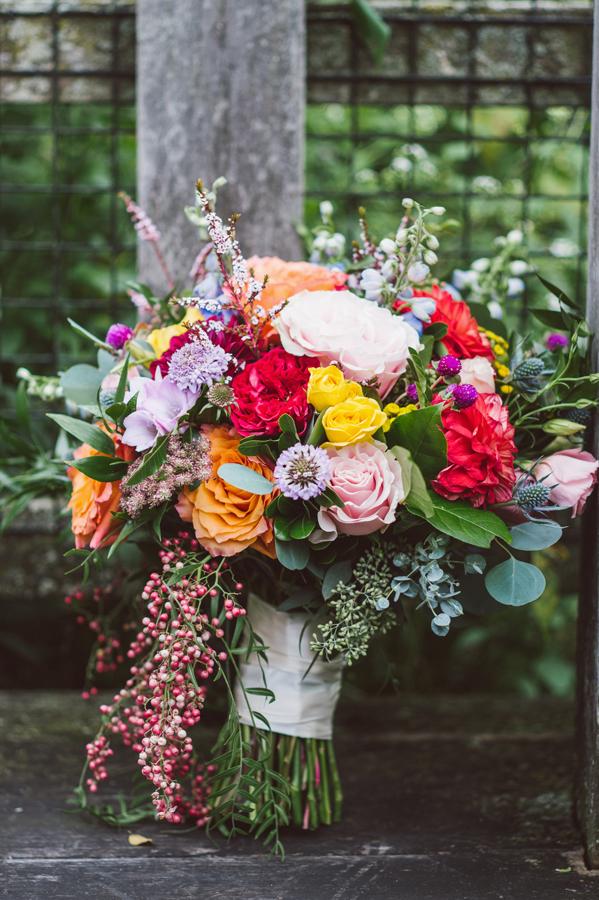 Detail of bridal bouquet.