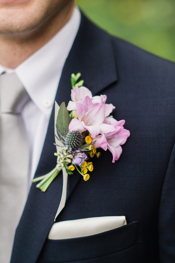 Detail of groom's boutenniere.