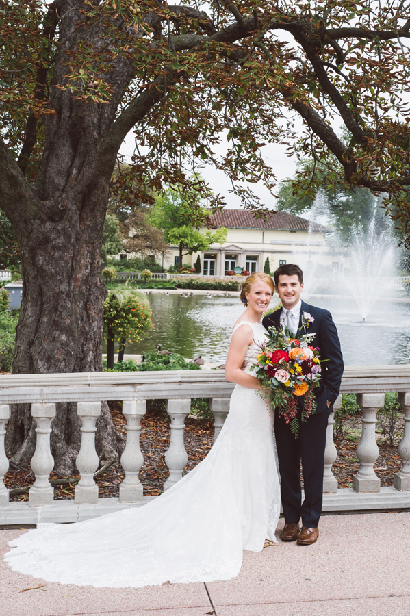 Portrait of bride and groom at Brookfield Zoo.