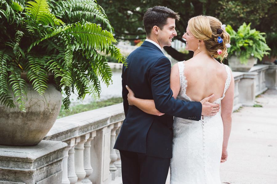 Bride and groom at Brookfield Zoo.