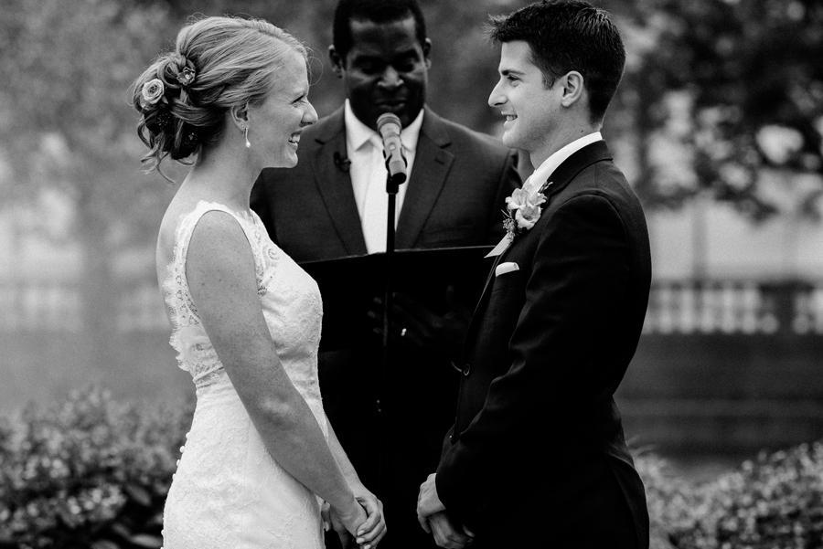 Wedding ceremony at Brookfield zoo formal pool.