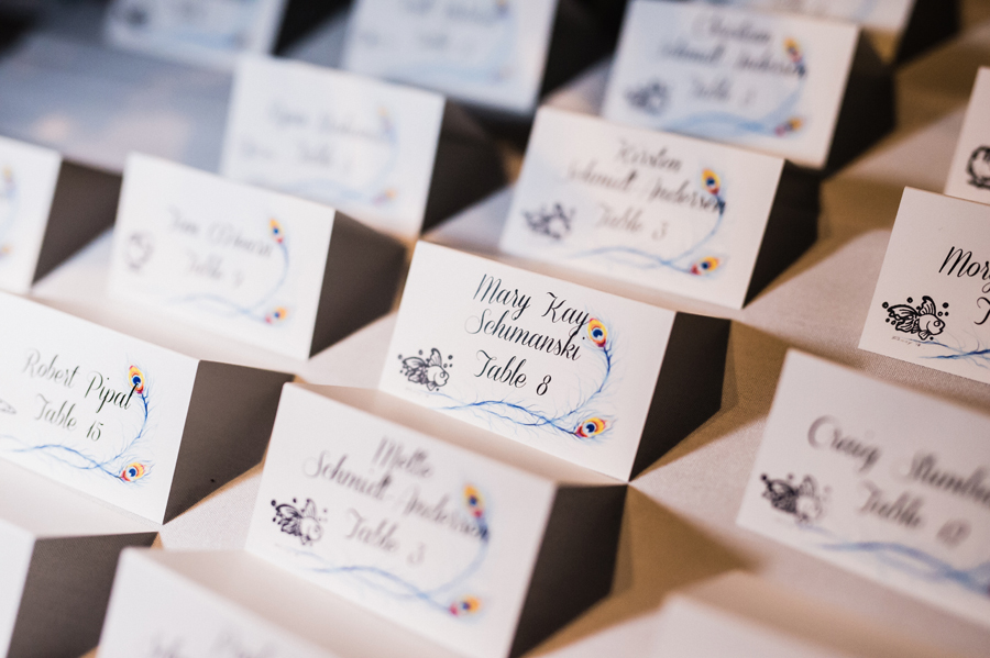 Custom wedding reception name cards.