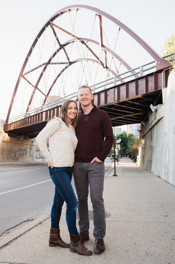 Engagement portraits on the 606, Chicago, IL. Wedding photography by Two Birds Photography. Classic, natural and film-like. Serving Chicago and the suburbs.