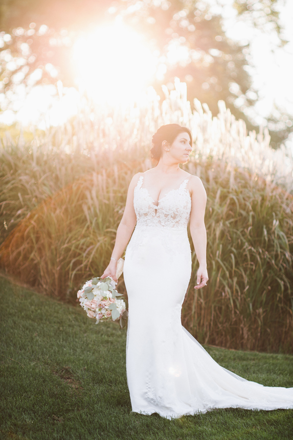 Portrait of bride at sunset.