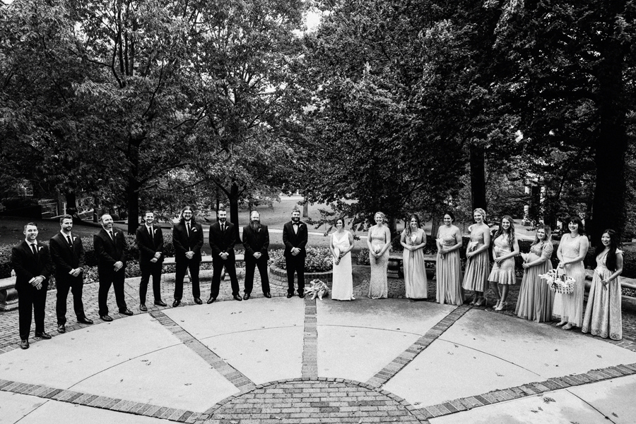 Bridal party portrait at Kalamazoo College.