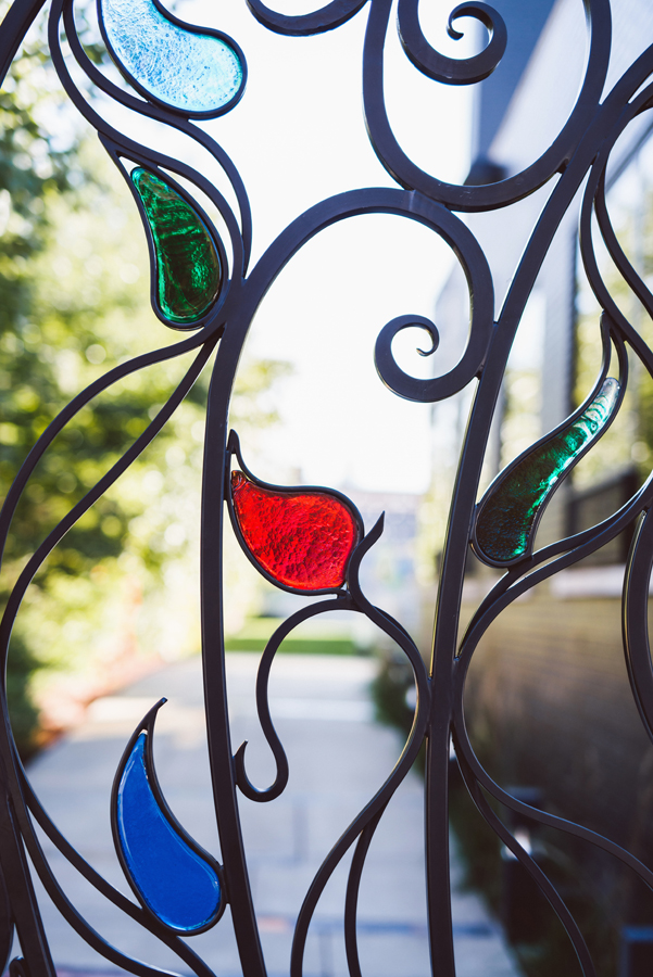 Detail of gate at Ignite Glass Studio.