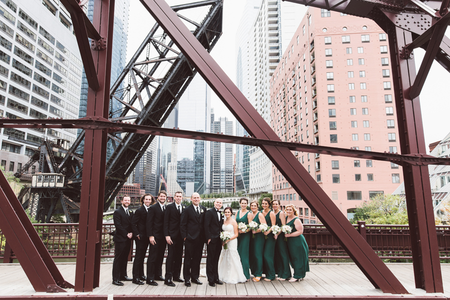 Bridal party at Kinzie street bridge.