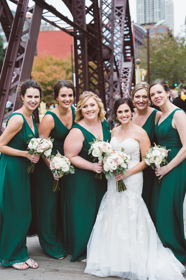 Bridesmaids at Kinzie street bridge.