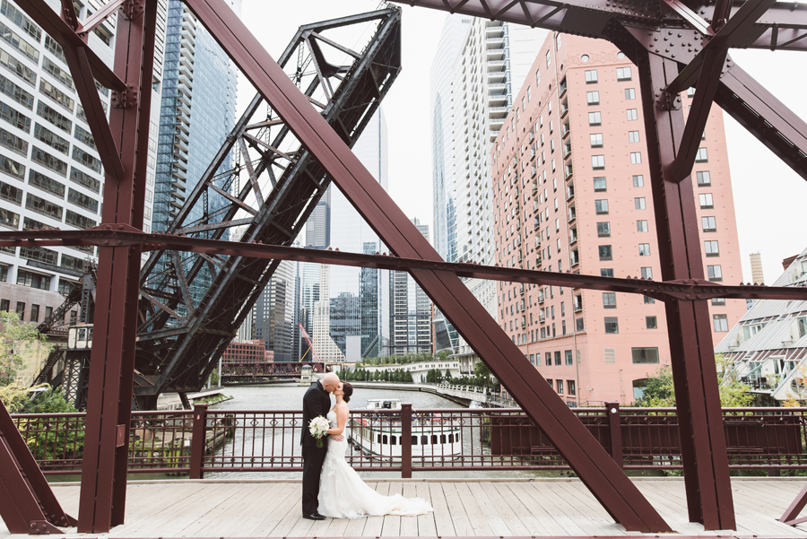 Bride and groom at Kinzie Street bridge.