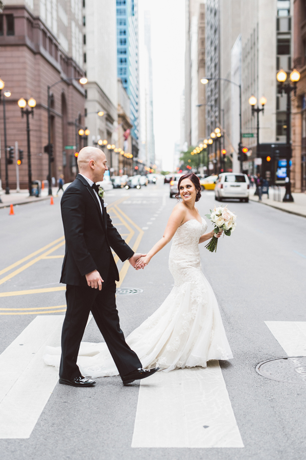 Bride and groom downtown Chicago.