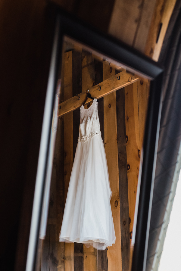 Dress hanging up in barn silo.