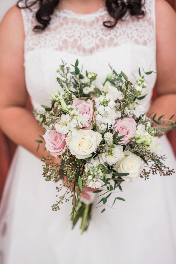 Detail shot of bridal bouquet.