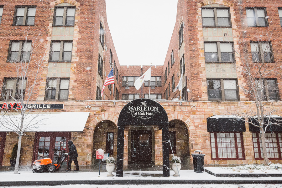 Snowy day at the Carleton Hotel.