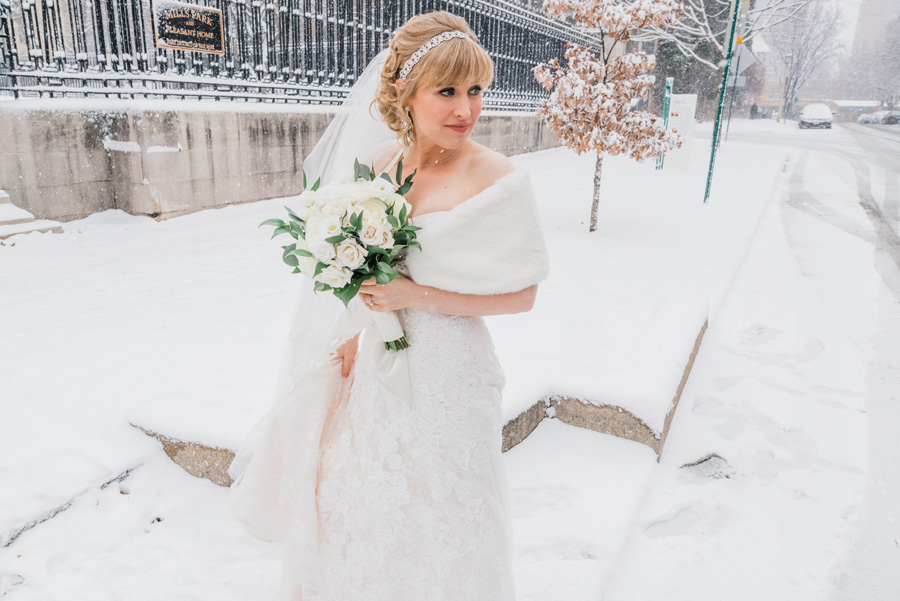 Bride in snow.