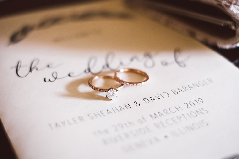 Detail photo of bride's rings.