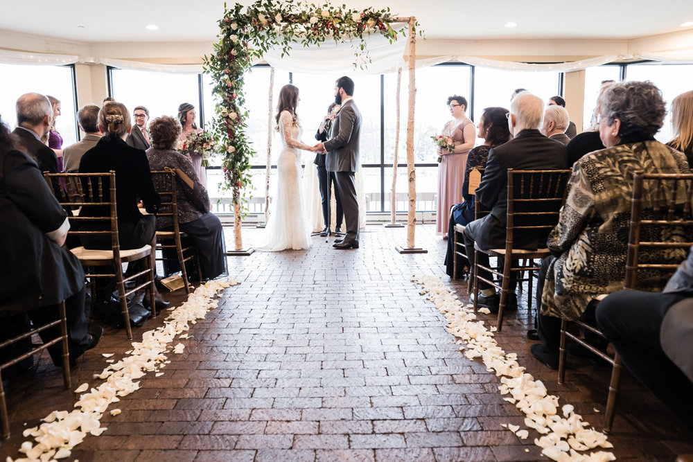 Wedding ceremony at Riverside receptions.