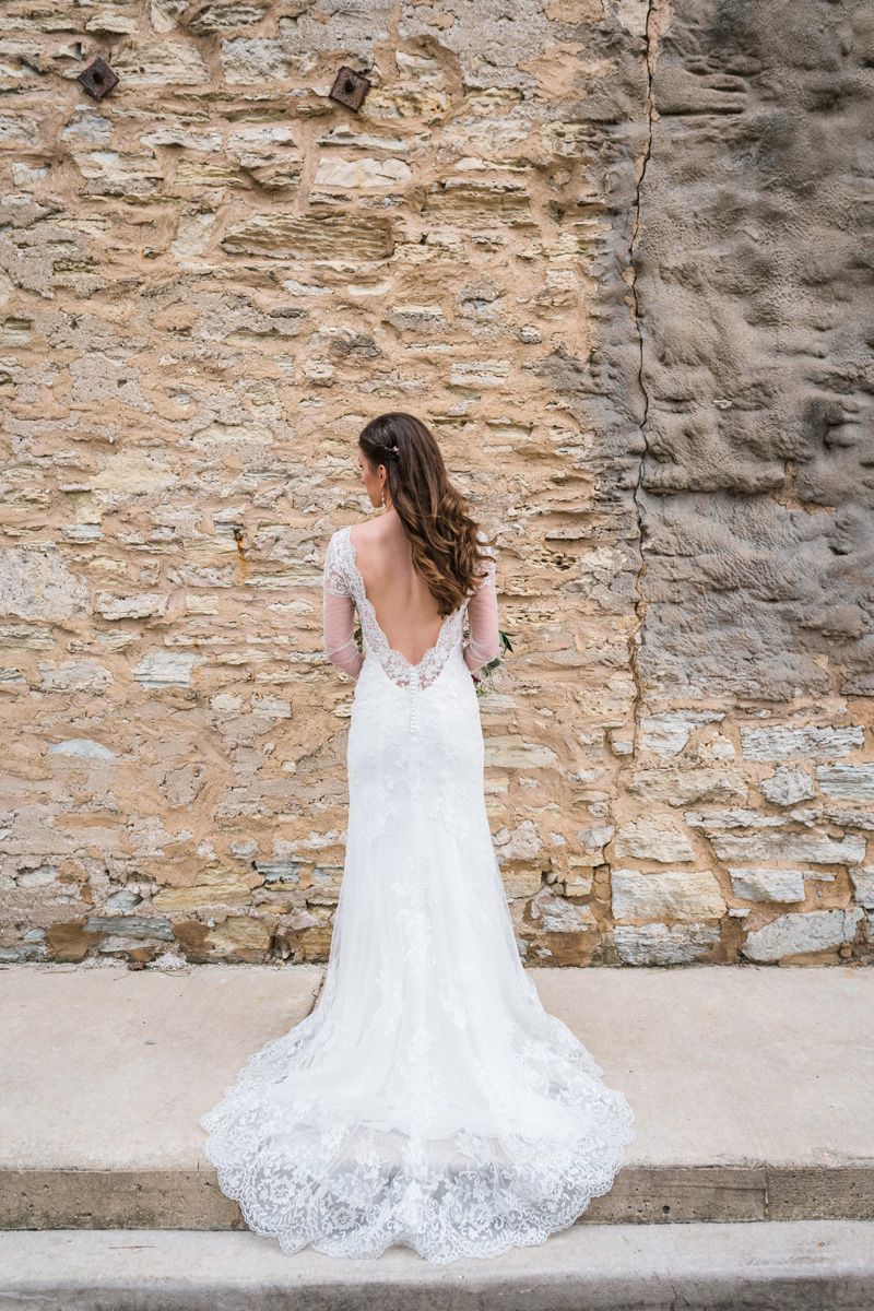 Back of bride's wedding dress.