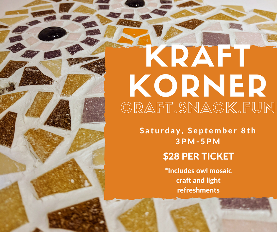 Join us on Sept. 8th as we premiere our mosaic line. Studio Artist, Stephanie M. will lead you in creating a memorable piece for Fall, or all year round. To register, click the link below, or call us at 412-787-5790!