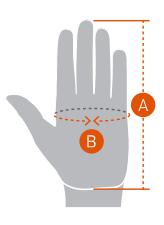 Hånd størrelse