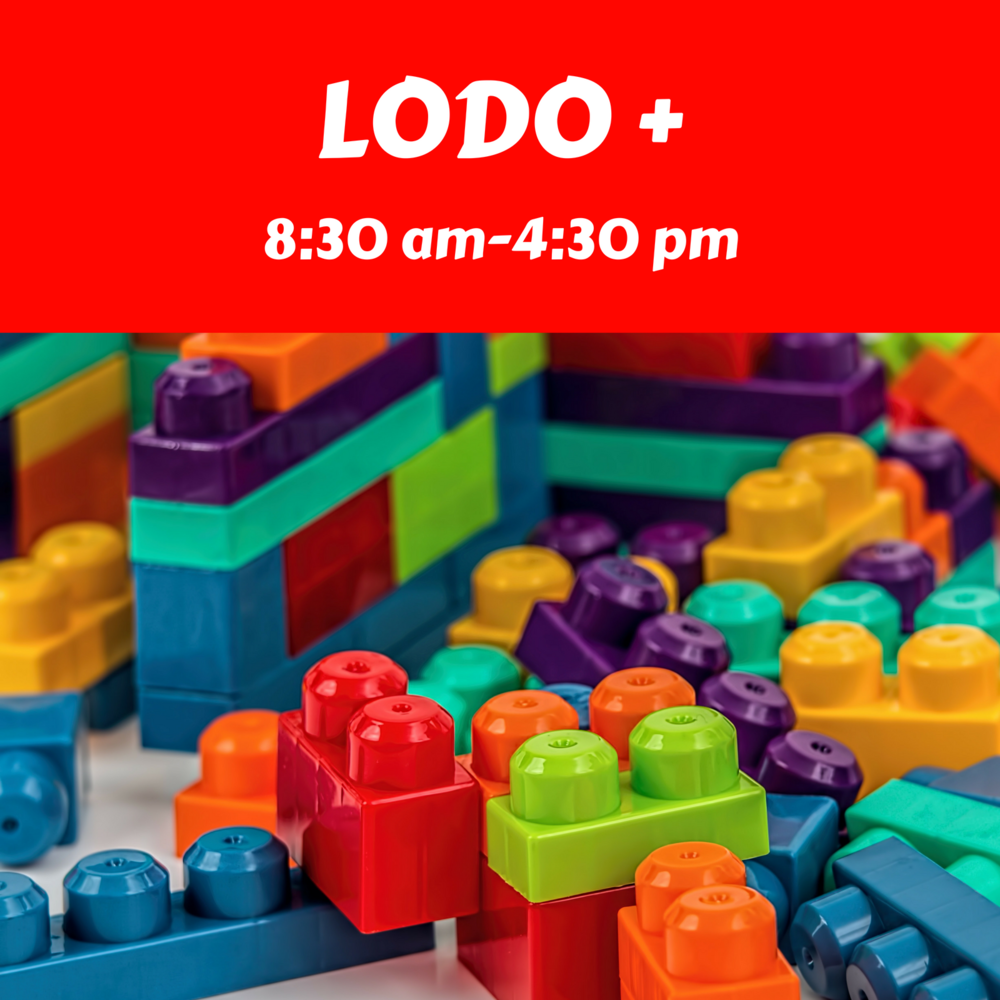 - Students enrolled in the Lambs, Lions, or Leap Frogs class may enroll in our extended hours from 8:30 am-4:30 pm. During LODO+ hours (8:30am-9:00am and 1:00pm-4:30pm) children are in a mixed age group that is limited to 10 children ages 2-5 years old. LODO+ consists of free-play to focus on gross motor and social skills, nap time, and an afternoon snack.Additional nap time supplies will be required. A list can be found in our Parent Handbook.