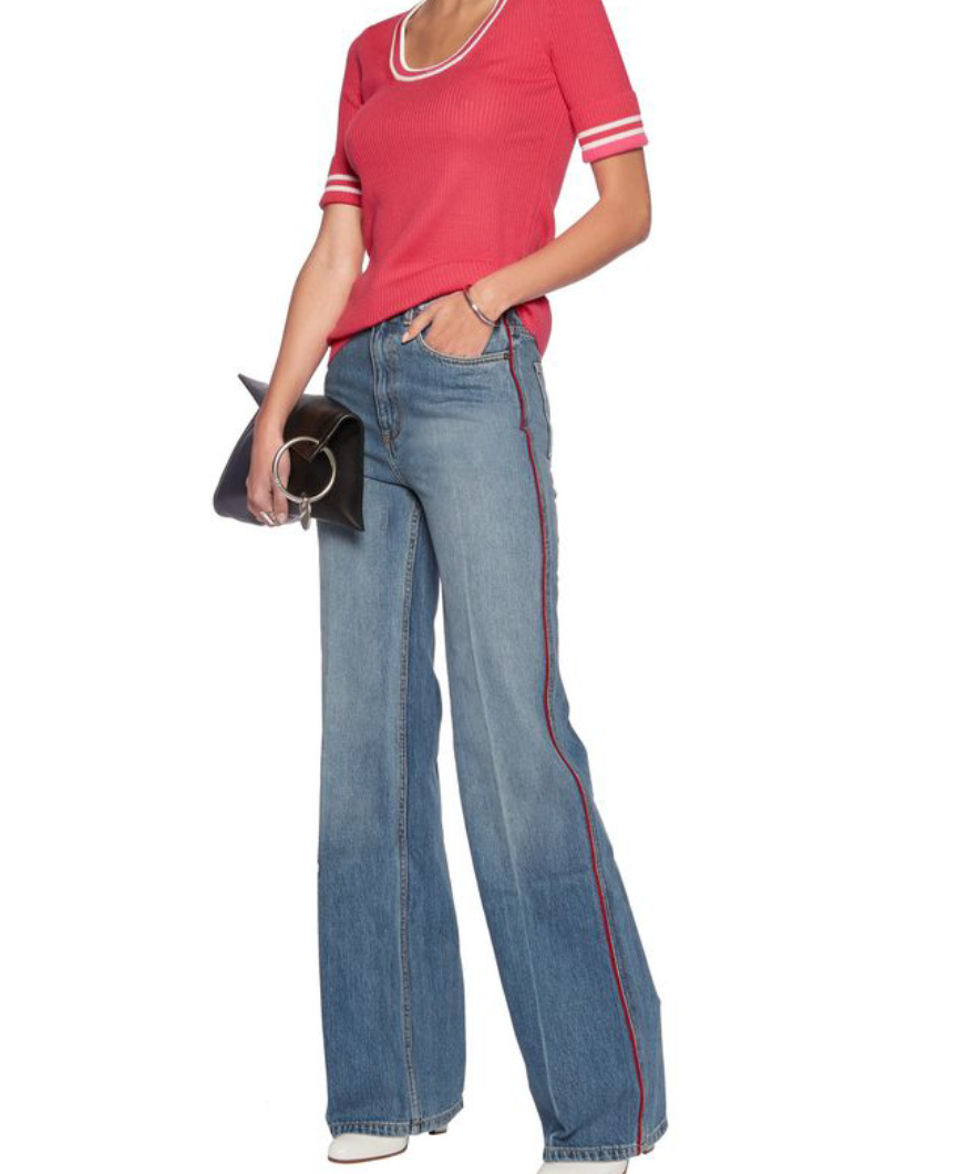 Wide Leg Jeans with a Red Stripe by Marc Jacobs
