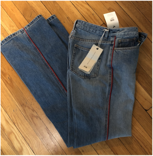 Marc Jacobs Wide Leg Jeans with Red Stripe