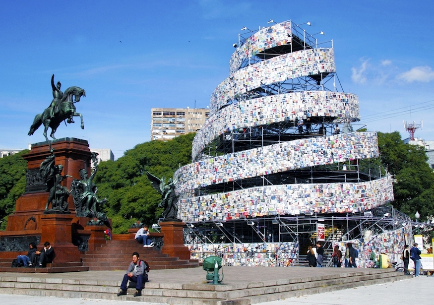 Tower of babel.Buenos aires, by marta minujin. 30,000 books in languages from around the world.