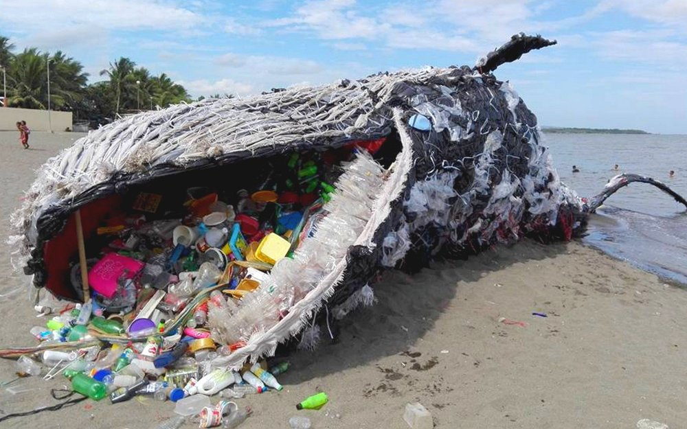 Sculpture to raise awareness of sea life killed by swallowing plastic trash, Greenpeace Philippines. Photo credit: Vince Cinches.