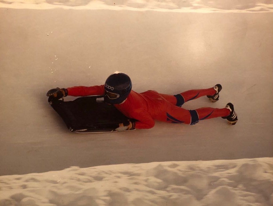Me falling off the sled!