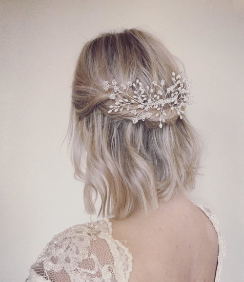 Bridal Hair Comb Wedding Headpiece Swarovski Crystal Freshwater
