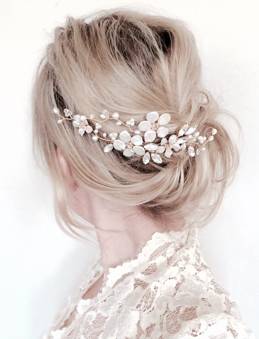 Bridal Hair Comb Gold Comb Floral Hair Comb Gold Hair Accessories Pearl Hair Vine Flower Comb Wedding Accessories Joanna Reed