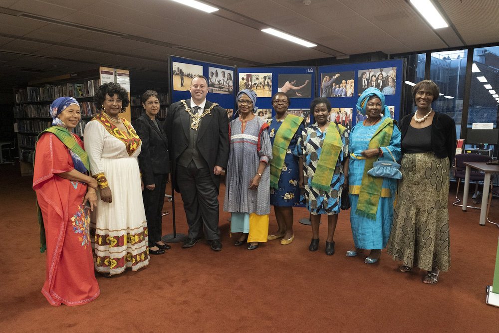 Members of the African Women's Forum with Portsmouth Lord Mayor in Portsmouth Central Library.